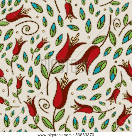 Seamless Doodle Lily Pattern