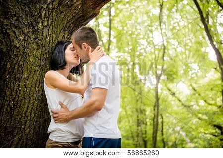 Love - kiss in forest