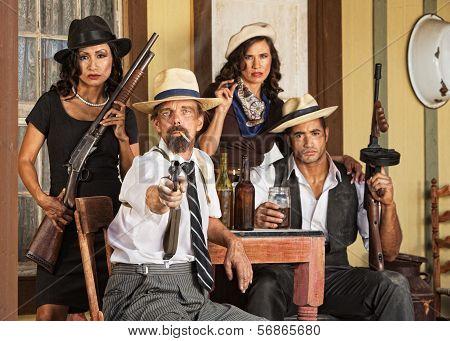 Armed Bootlegger Pointing Gun