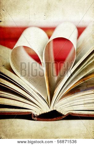 Vintage photo of heart shaped book pages