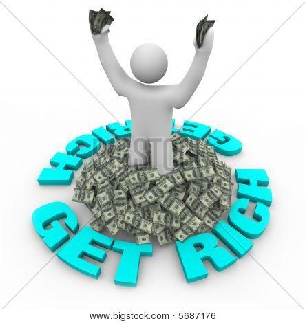 Get Rich  Figure Standing In Dollars