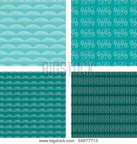 Seamless Doodle Pattern Set Turquoise