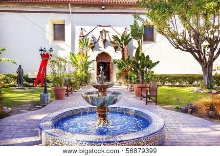 Mexican Tile Fountain Serra Statue Garden Mission San Buenaventura Ventura California