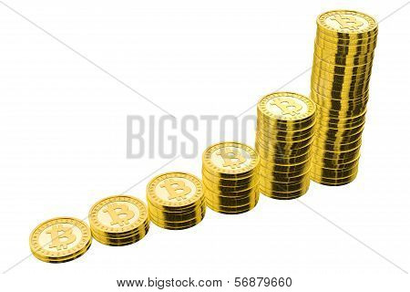 Six Stacks of Golden Bitcoins