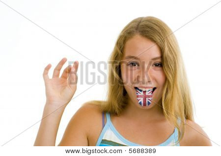 Girl With British Flag On Tongue