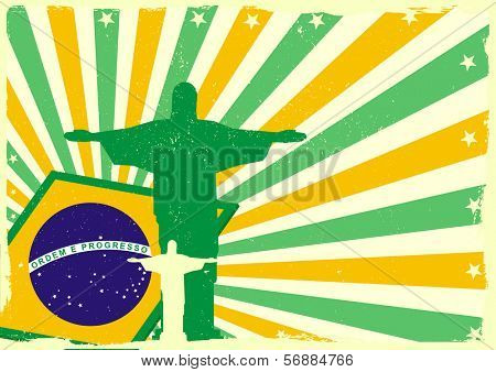 detailed illustration of the Jesus Statue of Rio de Janeiro in front of a grungy brazilian flag backbround, eps 10 vector