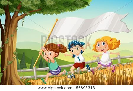 Illustration of the three kids running with an empty banner