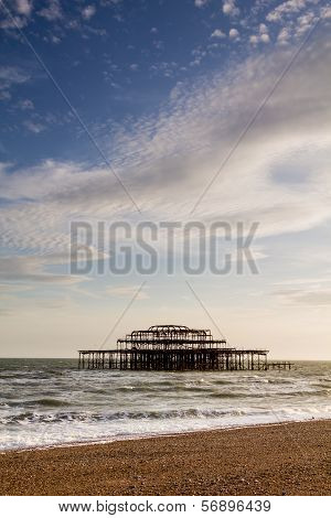 West Pier Ruins At Sunset, Brighton Beach, England