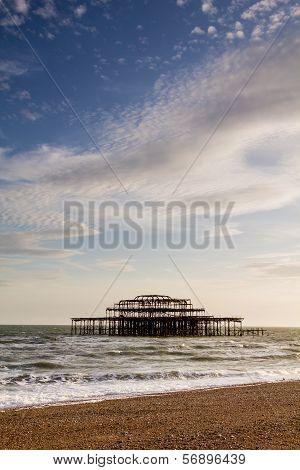 West Pier Ruins At Sunset, Brighton Beach, England