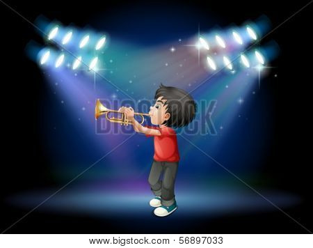 Illustration of a stage with a musical performer