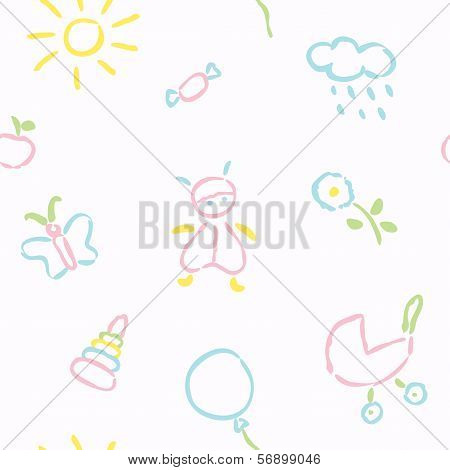 Doodle Babies Seamless Pattern