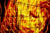 An abstract background of a heartbeat waveform on a bloody distorted design. poster