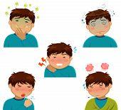 cartoon person having various symptoms of sickness poster
