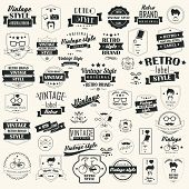 Set of vintage retro labels, stamps, ribbons, marks and calligraphic design elements, typographical, hipster elements, vector illustration poster