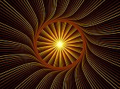 Fractal Burst series. Design composed of fractal radial burst pattern as a metaphor on the subject of science technology and design poster