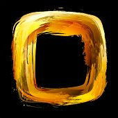 Gold. Abstract vector design element. Square frame painted with brush strokes. poster