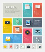 Flat design modern vector illustration concept of minimalistic stylish infographic webpage elements with icons set or abstract metro user interface kit with simple navigation for web project. Isolated on light gray background. poster