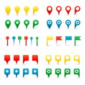 Colorful Map Pins. Isolated on White Illustration. poster