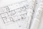 close up Architect rolls and plans architectural plan poster