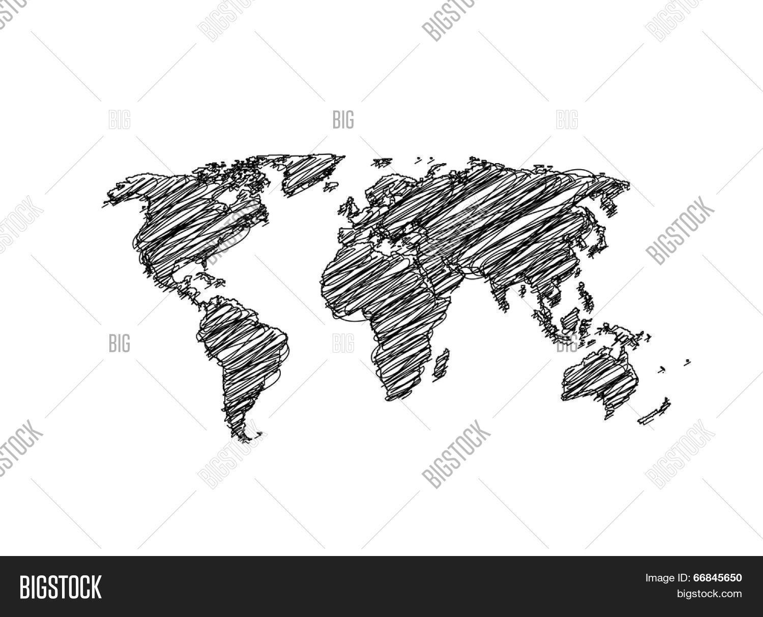 Hand sketch world map globe vector vector photo bigstock hand sketch world map globe vector easy all editable gumiabroncs Gallery