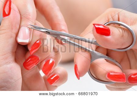 beauty salon, manicure applying, cutting the cuticle with scissors poster