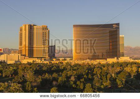 LAS VEGAS, NEVADA - November 29, 1013:  Dawn view of the upscale Palazzo and Wynn Casino Resorts in Las Vegas, Nevada.