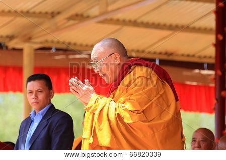 Leh, India - August 5, 2012: His Holiness The 14Th Dalai Lama Gives Teachings On August 5, 2012 At S