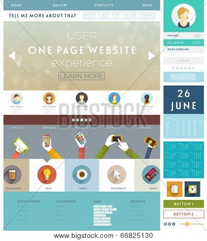 One Page Website Design Template with UI Elements kit and Flat Design Concept Icons. Mobile Phones and Tablet PC Designs. Set of Forms and Buttons. Vector.