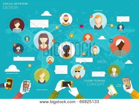 Social Network Vector Concept. Flat Design Illustration for Web Sites Infographic Design.