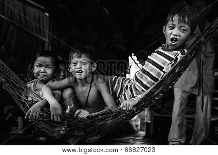 HO CHI MINH CITY, VIETNAM - CIRCA JUNE 2014 Poor Children