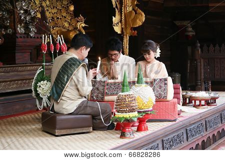 Bride And Groom In Traditional Thai Northen Style Wedding Ceremony