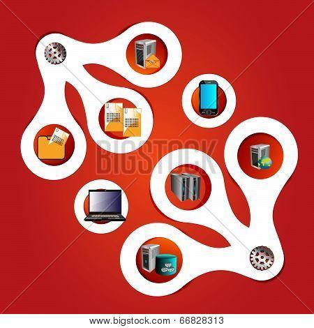 Enterprise applications integration technology symbols and infographic reusable components