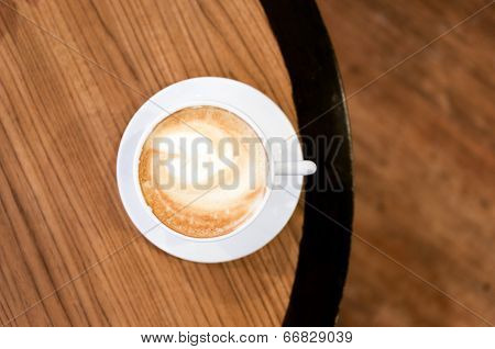 Beautiful Coffee Art In A White Cup From Top View
