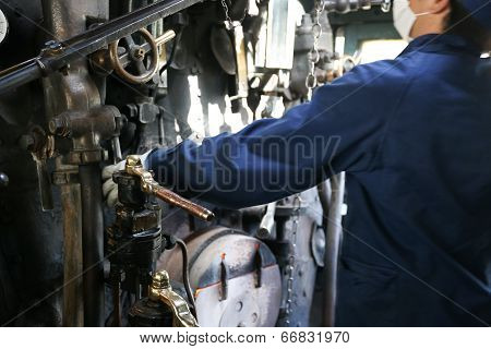 Stream Train Worker Inside The Cockpit