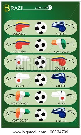 Group C The Flags of 4 Nations of Football or Soccer Championship in Final Tournament at Brazil.. poster