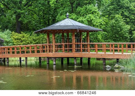 Red Bridge With A View Pavilion, Yumedono Bashi, In Japanese Garden