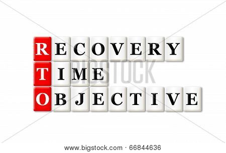 RTO - Recovery Time Objective acronym on white background poster