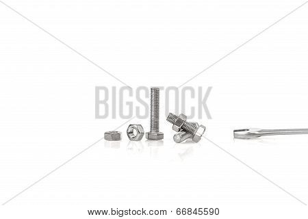 Bolts and nuts on white background