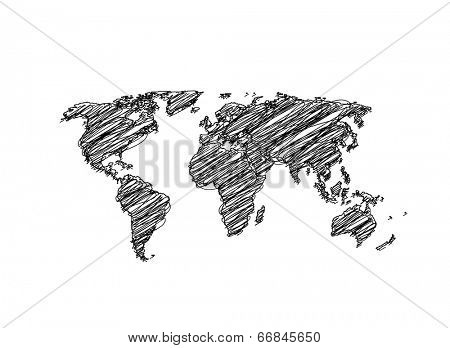 Hand sketch World Map Globe Vector   easy all editable