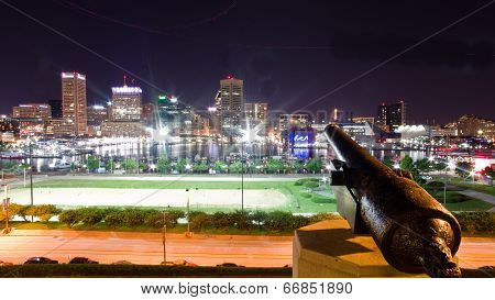 City of Baltimore at Night - Inner Harbor