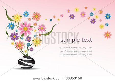 Colorful Flowers In Vase Vector