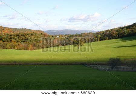 Fall Scenic View Of Mountains In Autumn Colors