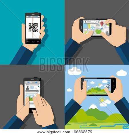 Hands holding touchscreen smartphones with applications on screens. Qr-code, map, chatt, message, camera. Vector illustration.