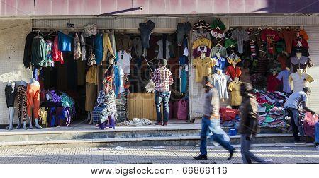 Clothes Shop In Merkato Market. Addis Ababa. Ethiopia.