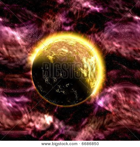 Science fiction cosmic planet complex space scene illustration poster