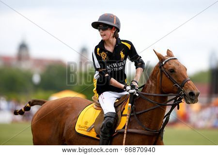 JERSEY CITY, NJ-MAY 31: Hilario Figueras (C) during the polo match at the 7th Annual Veuve Cliquot Polo Classic at Liberty State Park on May 31, 2014 in Jersey City, NJ.