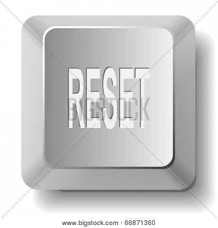Reset. Computer key. Raster illustration.