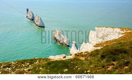 The Needles landmark and lighthouse tourist attraction Isle of Wight UK