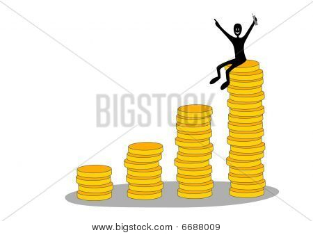 Columns of coins and happy businessman