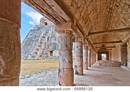 Ancient mayan pyramid in Uxmal, Yucatan - Mexico